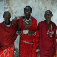 three masai men, kenya