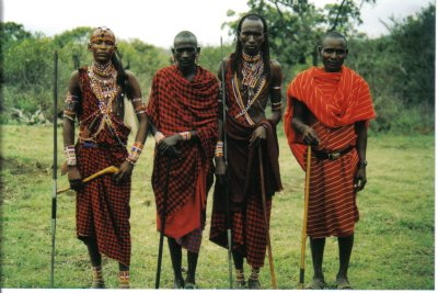 warriors and junior elders of the masai tribe, kenya