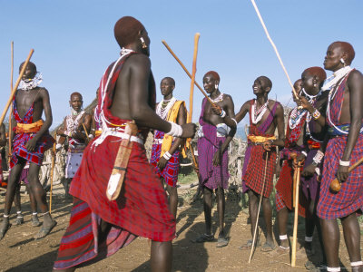 masai warriors, ritual dance, rift valley, kenya