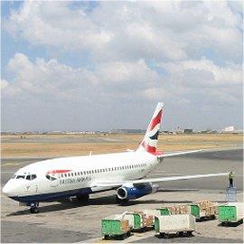 airplane loading cargo at kenyatta airport, nairobi, kenya