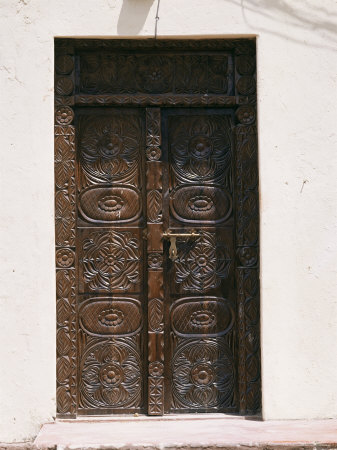 carved wooden door, arab style, mombasa, kenya