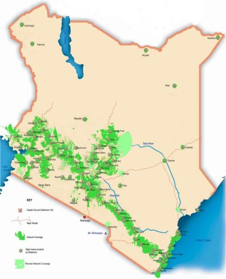 kenya mobile phones network coverage map