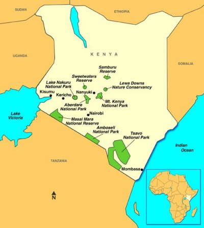 kenya map of national parks