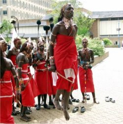 traditional masai jump dance, kenya