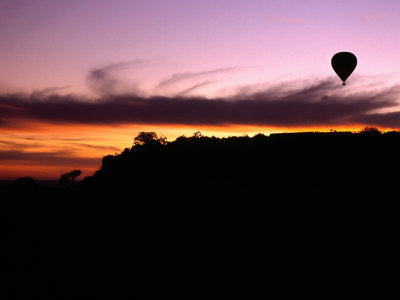 hot air balloon at sunset, masai mara, kenya