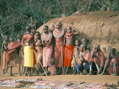 masai women and children, kenya