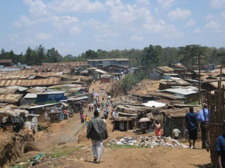 The Kibera slum of Nairobi, Kenya