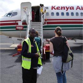 passengers at kenyatta airport, nairobi, kenya