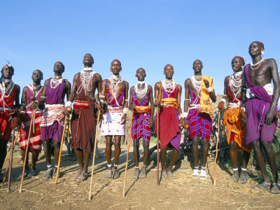 ritual dance of masai warriors, rift valley, kenya