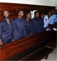 Suspects in a Kenyan court