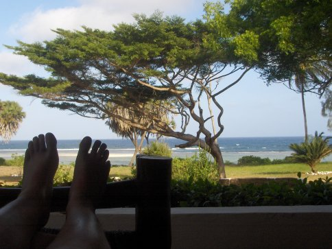 The view from the porch of our cottage, Moonlight Bay Beach Cottages, Tiwi Beach, Kenya