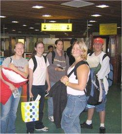 travellers at kenyatta airport, nairobi, kenya
