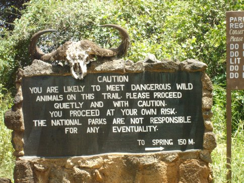 Sign in Tsavo West National Park, Kenya