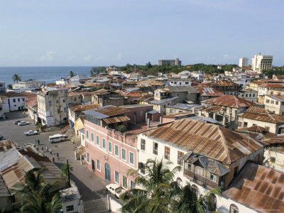 view over the rooftops of the old town of mombasa, kenya