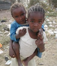Two girls in a Nairobi slum, Kenya