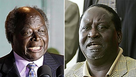 kibaki and odinga, rival politicians of kenya
