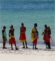 maasai warriors on mombasa beach, kenya