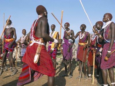 masai warriors, ritual dance, rift valley, kenya