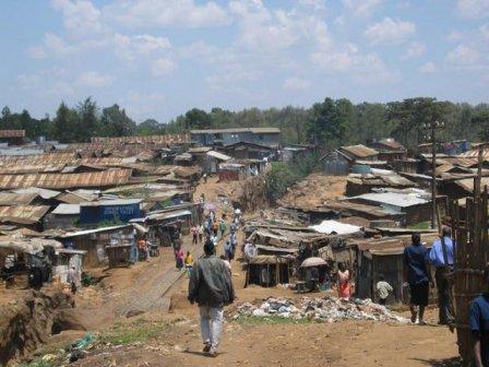 The Kibera slum of Nairobi, Kenya