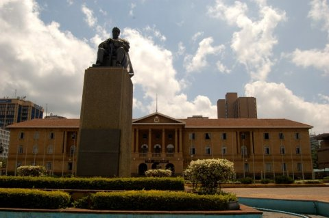 National Kenyan parliament, Nairobi, with statue of Jomo Kenyatta