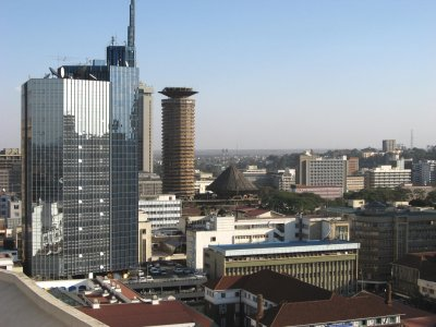 skyline of the city of nairobi, kenya