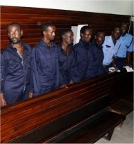 Suspects in a Kenyan court